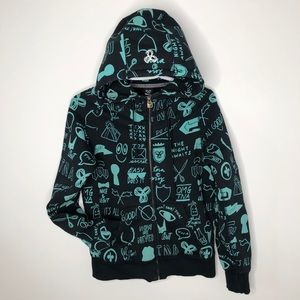 TNA Black Hoodie with Green Doodle Style Print
